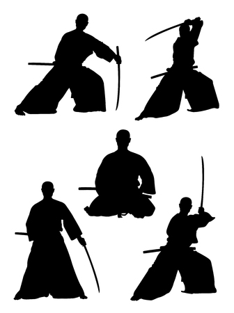 Silhouette of traditional martial art. Good use for symbol, logo, web icon, mascot, sign,or any design you want.