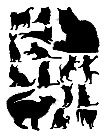 Silhouette of cats. Good use for symbol, logo, web icon, mascot, sign, or any design you want. Ilustração