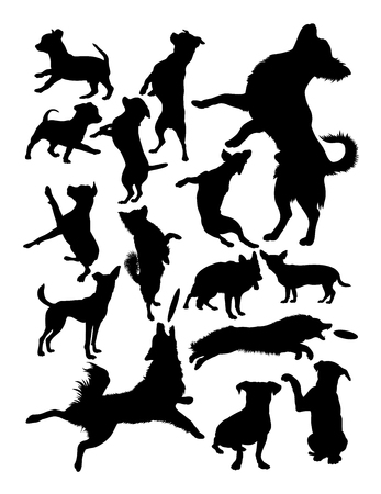 Silhouette of dogs. Good use for symbol, logo, web icon, mascot, sign, or any design you want. Ilustração