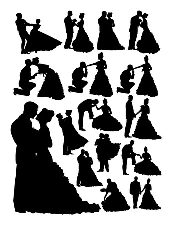 Silhouette of bride and groom. Good use for symbol, logo, web icon, mascot, sign, or any design you want.