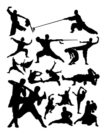 Silhouette of shaolin martial arts. Good use for symbol, logo, web icon, mascot, sign, or any design you want.