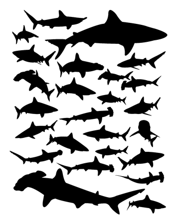 Silhouette of shark. Good use for symbol, logo, web icon, mascot, sign, or any design you want.