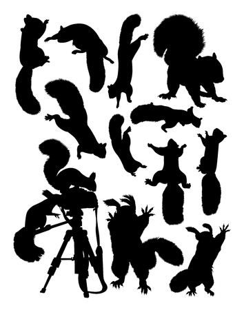 Silhouette of squirrel. Good use for symbol, logo, web icon, mascot, sign, or any design you want. Çizim