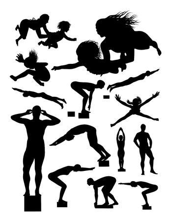 Silueta de nadador. Buen uso de símbolo, logotipo, icono web, mascota, letrero o cualquier diseño que desee.