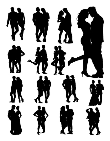 Silhouette of young couple. Good use for symbol, logo, web icon, mascot, sign, or any design you want. Illustration