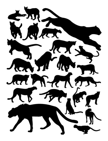 Cheetah and puma silhouette. Good use for symbol, logo, web icon, mascot, sign, or any design you want.