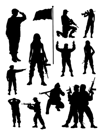 Female soldier silhouette. Good use for symbol, logo, web icon, mascot, sign, or any design you want.