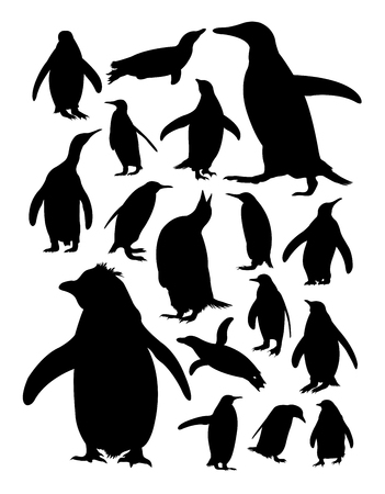 Silhouette of penguins. Good use for symbol, logo, web icon, mascot, sign, or any design you want.