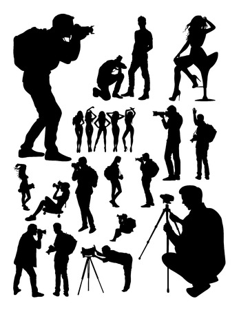 Silhouette of photographer. Good use for symbol, logo, web icon, mascot, sign, or any design you want. 矢量图像
