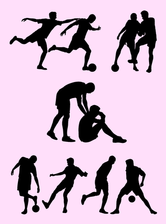 Soccer player silhouette 04. Good use for symbol, logo, web icon, mascot, sign,or any design you want.