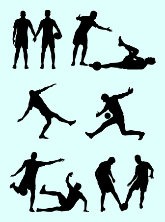 Soccer player silhouette 05. Good use for symbol, logo, web icon, mascot, sign,or any design you want.