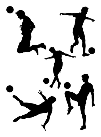 Soccer player silhouette 02. Good use for symbol, logo, web icon, mascot, sign,or any design you want.