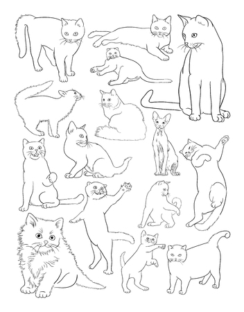 Cats line art. Good use for symbol, logo, web icon, mascot, coloring book, sign,or any design you want.