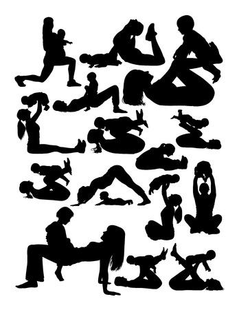 Schattenbild der Mutter mit dem Baby, das Yoga tut. Gute Verwendung für Symbol, Logo, Web-Symbol, Maskottchen, Zeichen oder jedes gewünschte Design. Logo