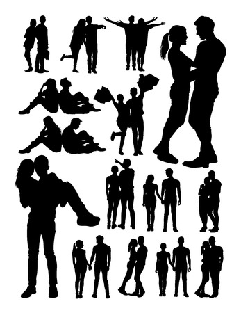 Silhouette of young couple. Good use for symbol, logo, web icon, mascot, sign,or any design you want.