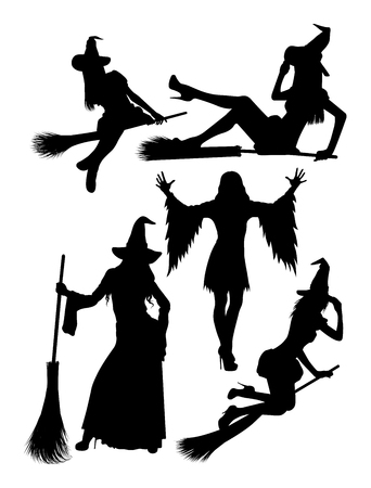 Witch silhouette 02. Good use for symbol, logo, web icon, mascot, sign, or any design you want.