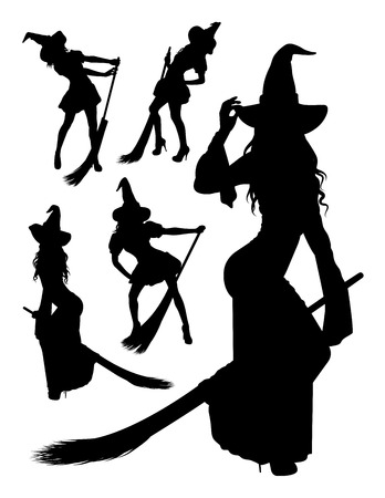 Witch silhouette 03. Good use for symbol, logo,web icon, mascot, sign, or any design you want.