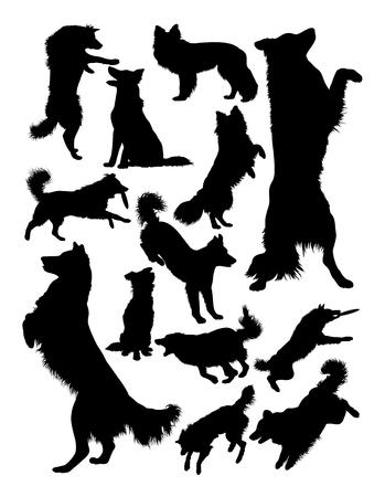Silueta de animal de perro collie. Buen uso de símbolo, logotipo, icono web, mascota, letrero o cualquier diseño que desee. Logos