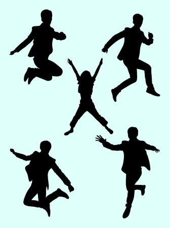 People jumping silhouette 01. Good use for symbol, logo, web icon, mascot, sign, or any design you want. Иллюстрация