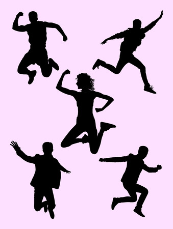 People jumping silhouette 02. Good use for symbol, logo, web icon, mascot, sign, or any design you want.