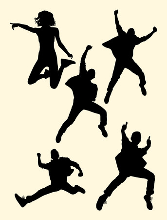 People jumping silhouette 03. Good use for symbol, logo, web icon, mascot, sign, or any design you want. Stock Illustratie