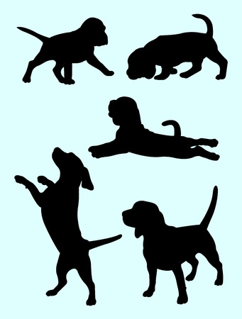 Beagle dog animal silhouette 02. Good use for symbol, logo, web icon, mascot, sign, or any design you want.