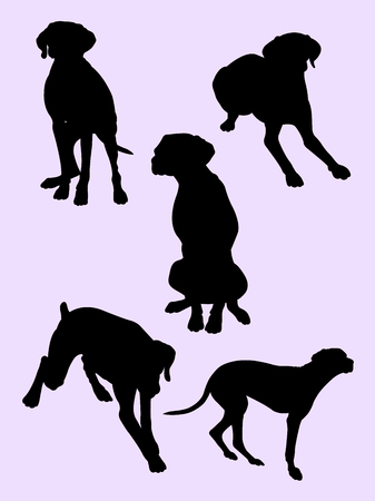 Viszla dog animal silhouette 02. Good use for symbol, logo, web icon, mascot, sign, or any design you want.