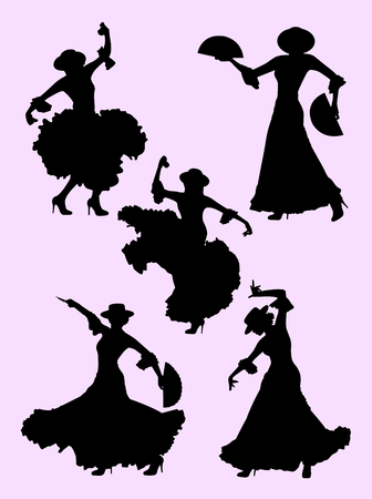 Woman dancing flamenco silhouette 01. Good use for symbol, logo, web icon, mascot, sign, or any design you want. Иллюстрация