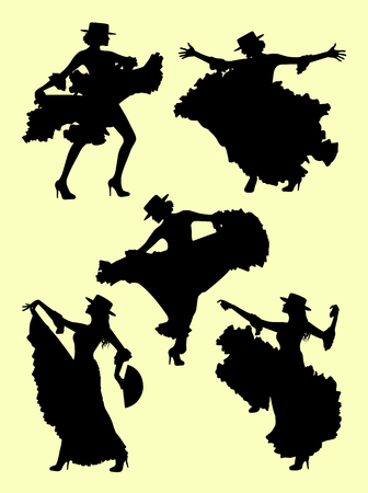 Woman dancing flamenco silhouette 02. Good use for symbol, logo, web icon, mascot, sign, or any design you want.