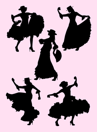Woman dancing flamenco silhouette 03. Good use for symbol, logo, web icon, mascot, sign, or any design you want.