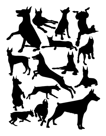 Doberman dog animal silhouette. Good use for symbol, logo, web icon, mascot, sign, or any design you want. Illustration