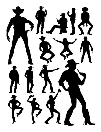 Cowboy and cowgirl detail silhouette. Good use for symbol, logo, web icon, mascot, sign, or any design you want.