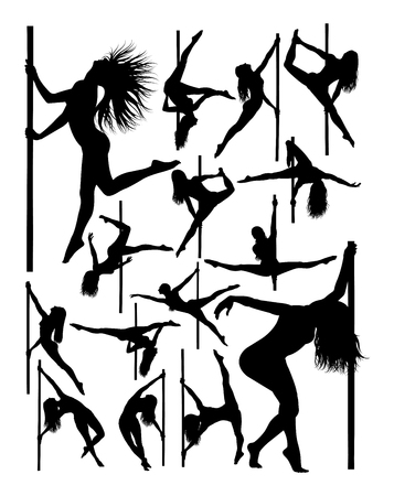 Silhouette of beautiful pole dancer. Good use for symbol, logo, web icon, mascot, sign, or any design you want.