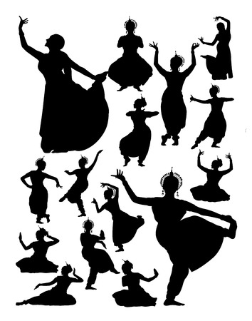 Silhouette of Indian dancer. Good use for symbol, logo, web icon, mascot, sign, or any design you want. Illustration