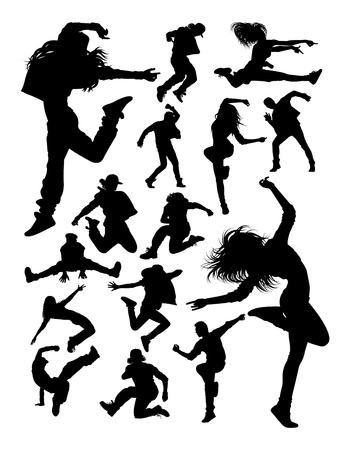 Attractive modern dancer silhouettes. Good use for symbol, logo, web icon, mascot, sign, or any design you want. Иллюстрация