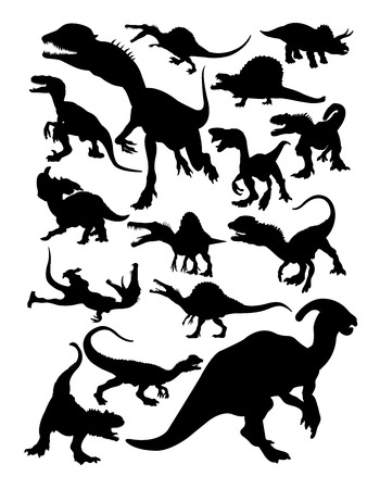 Dinosaur silhouettes. Good use for symbol, logo, web icon, mascot, sign, or any design you want. Иллюстрация