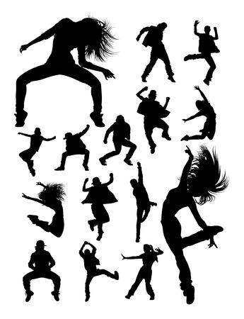 Hip hop moderne dans danser silhouetten. Goed gebruik voor symbool, logo, webpictogram, mascotte, teken of elk gewenst ontwerp.