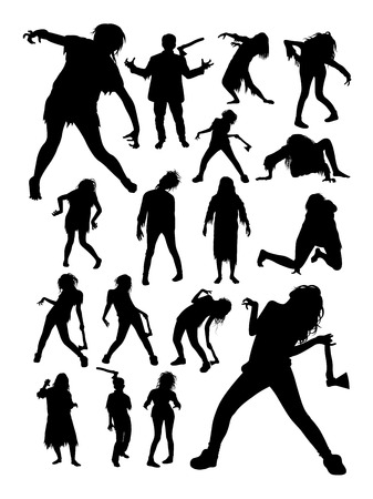 Zombies horror halloween silhouettes. Good use for symbol, logo, web icon, mascot, sign, or any design you want.