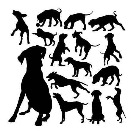 Colección de siluetas de perros dálmatas. Buen uso de símbolo, logotipo, icono web, mascota, letrero o cualquier diseño que desee.