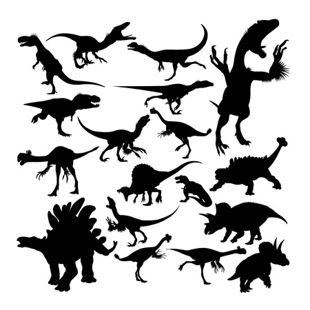 Dinosaur reptile animal silhouettes. Good use for symbol, logo, web icon, mascot, sign, or any design you want.