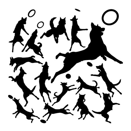 Malinois belgian shepherd dog silhouettes. Good use for symbol, logo, web icon, mascot, sign, or any design you want.