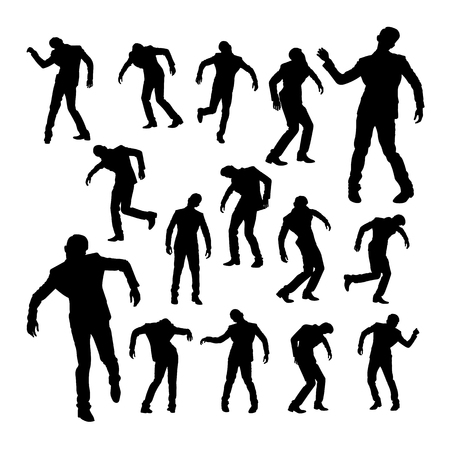 Silhouettes of dancing man. Good use for symbol, logo, web icon, mascot, sign, or any design you want. Иллюстрация
