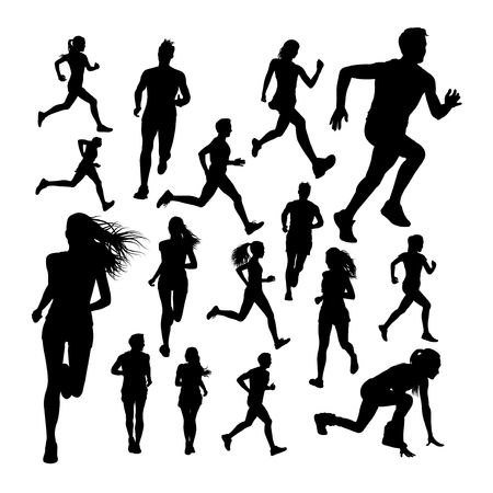 Silhouettes of runner. Good use for symbol, logo, web icon, mascot, sign, or any design you want.