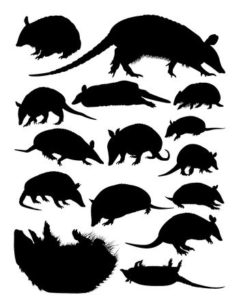 Armadillos animal silhouettes. Good use for symbol, logo, web icon, mascot, sign, or any design you want.