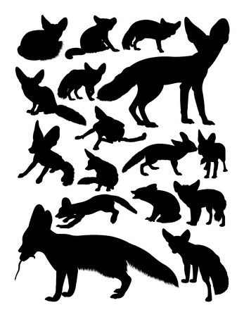 Fennec fox animal silhouettes. Good use for symbol, logo, web icon, mascot, sign, or any design you want. Illustration