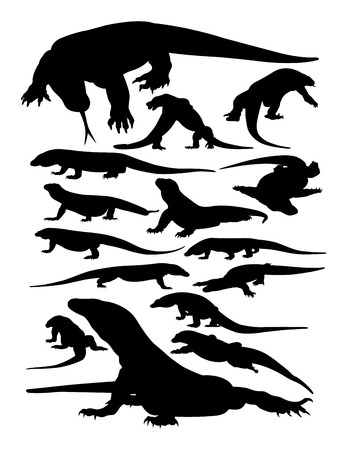 Siluetas de animales de Komodo. Buen uso de símbolo, logotipo, icono web, mascota, letrero o cualquier diseño que desee.
