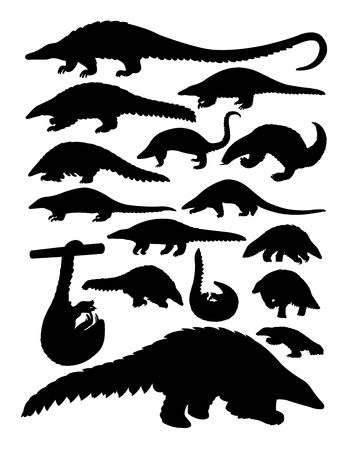 Pangolin animal silhouettes. Good use for symbol, logo, web icon, mascot, sign, or any design you want.