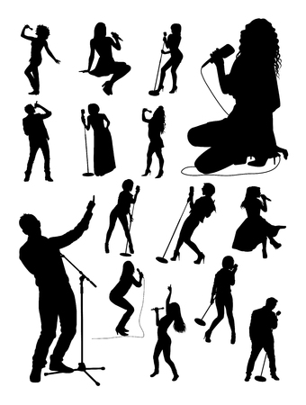 Singer gesture silhouettes. Good use for symbol, logo, web icon, mascot, sign, or any design you want. Иллюстрация