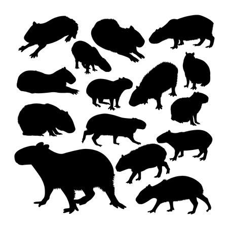 Capybara animal silhouettes. Good use for symbol, logo, web icon, mascot, sign, or any design you want.