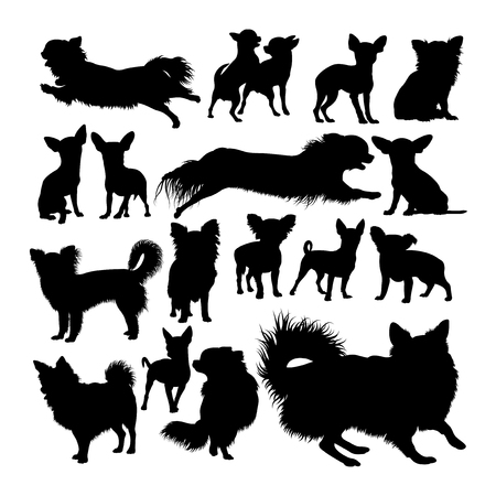 Chihuahua dog animal silhouettes. Good use for symbol, logo, web icon, mascot, sign, or any design you want.
